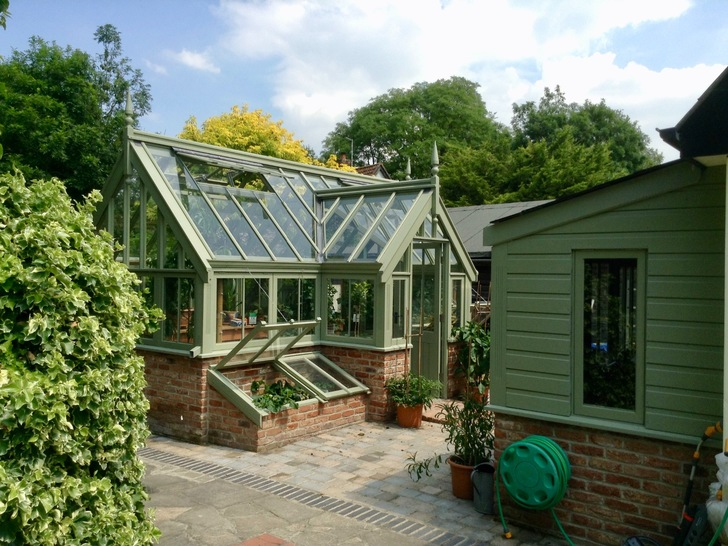 Greenhouse and adjacent potting shed